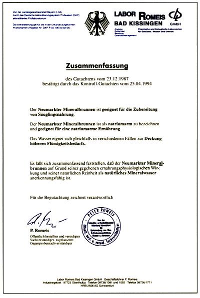 amtliche-anerkennung-neumarkter-mineralbrunnen-zertifikat
